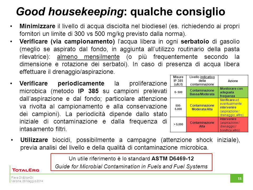 Fiera Oil&NonOil Verona, 29 Maggio 2014 Good housekeeping: qualche consiglio 11 Minimizzare il livello di acqua disciolta nel biodiesel (es. richieden