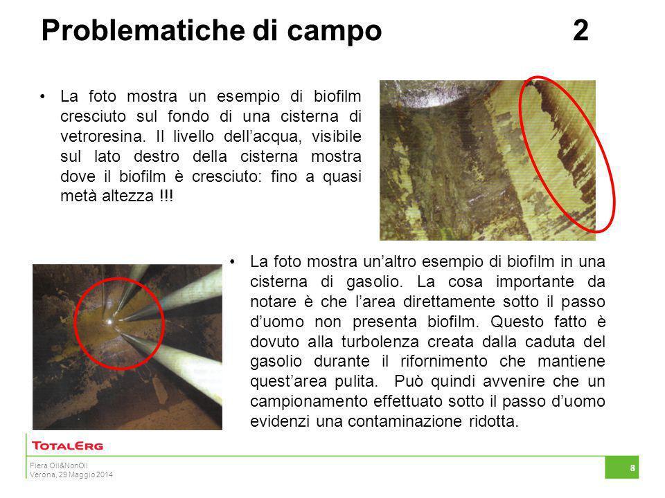 Fiera Oil&NonOil Verona, 29 Maggio 2014 8 La foto mostra un esempio di biofilm cresciuto sul fondo di una cisterna di vetroresina. Il livello dell'acq