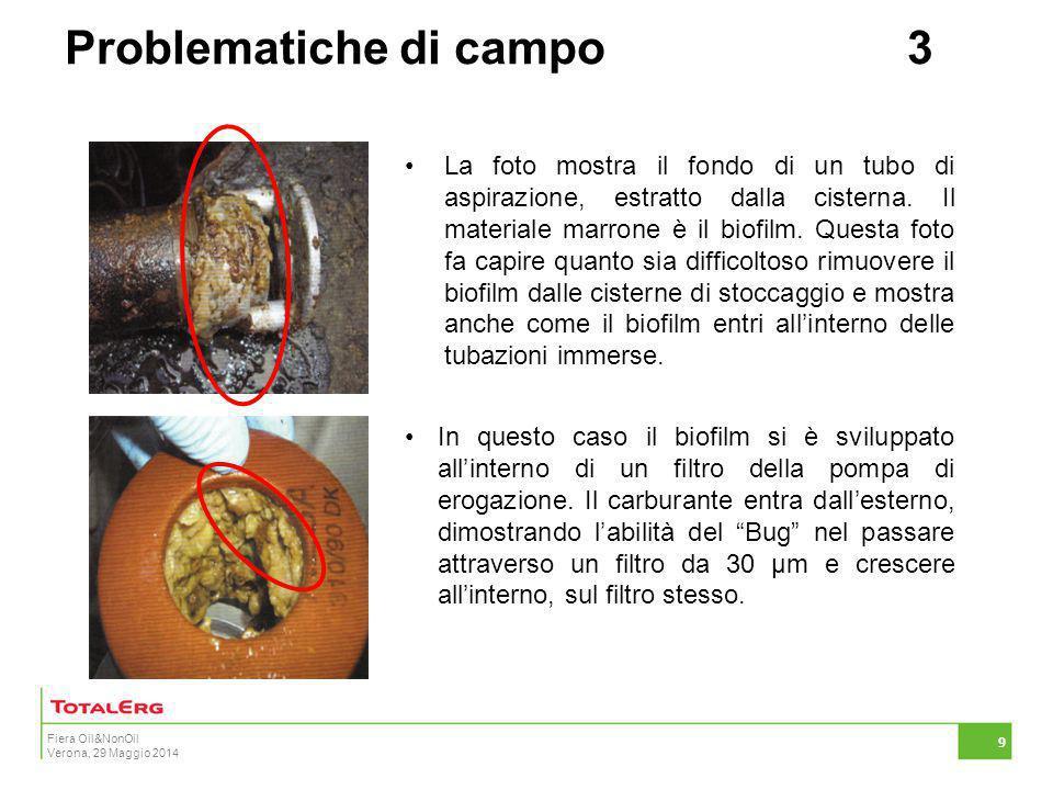 Fiera Oil&NonOil Verona, 29 Maggio 2014 9 La foto mostra il fondo di un tubo di aspirazione, estratto dalla cisterna. Il materiale marrone è il biofil