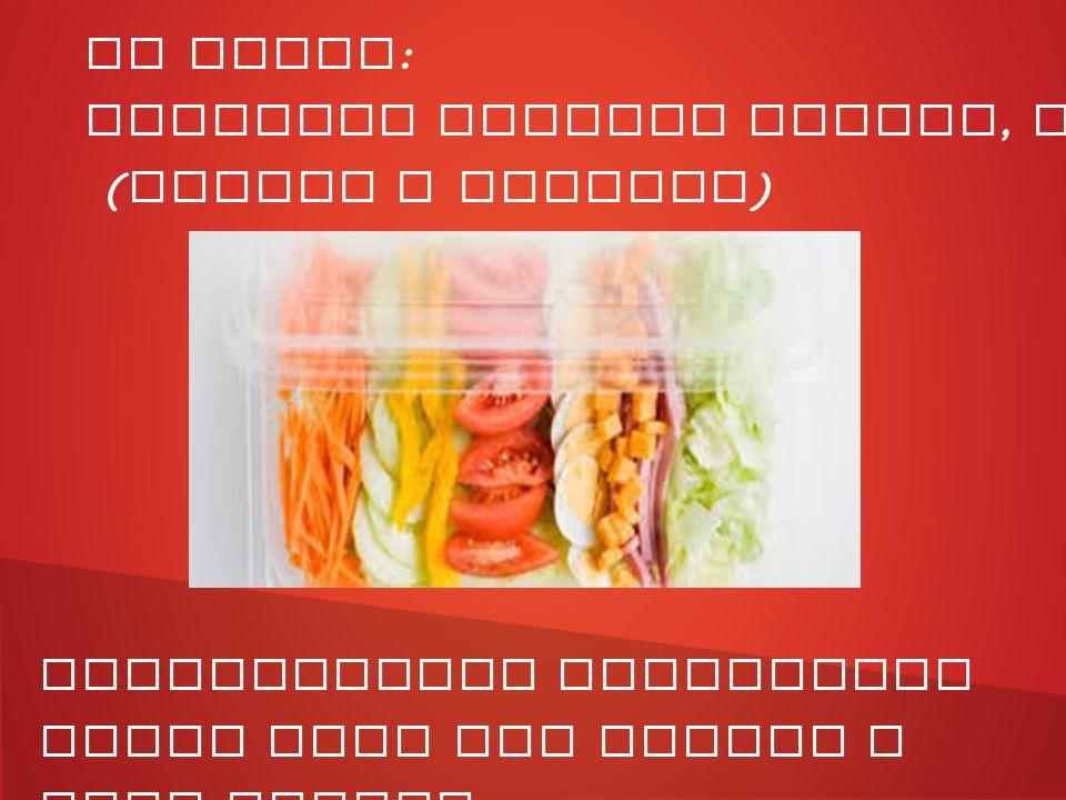 IV Gamma : prodotti freschi lavati, tagliati e confezionati ( Frutta e Verdura ) Maggiormente utilizzati nelle zone del centro e nord Italia.