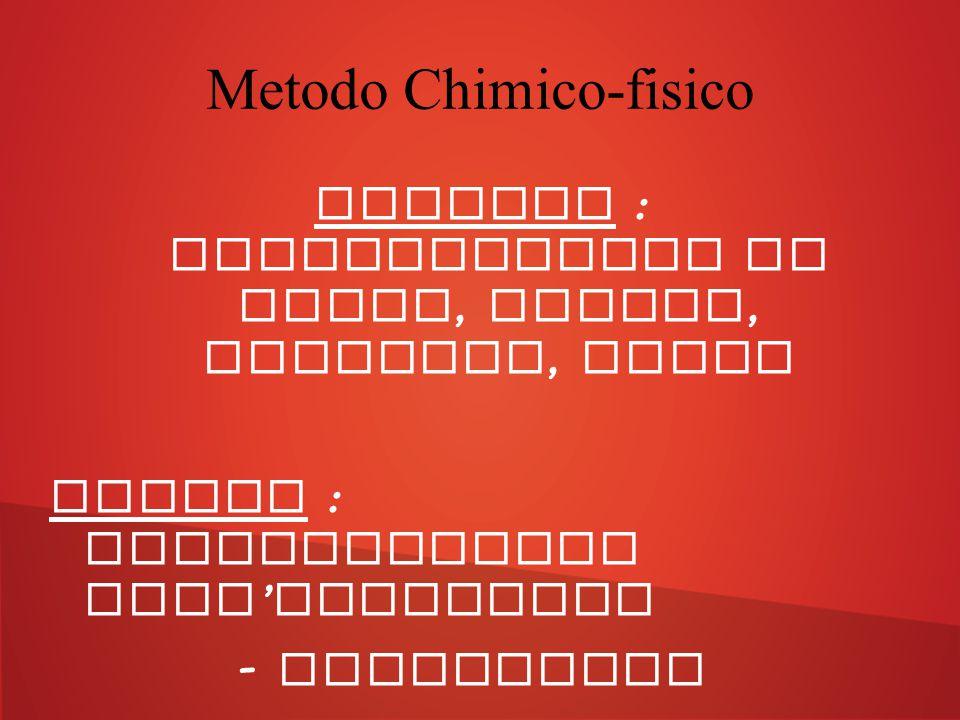 Metodo Chimico-fisico Chimico : affumicamento di carne, salumi, formaggi, pesce Fisico : modificazione dell ' atmosfera - Sottovuoto - Atmosfera modif