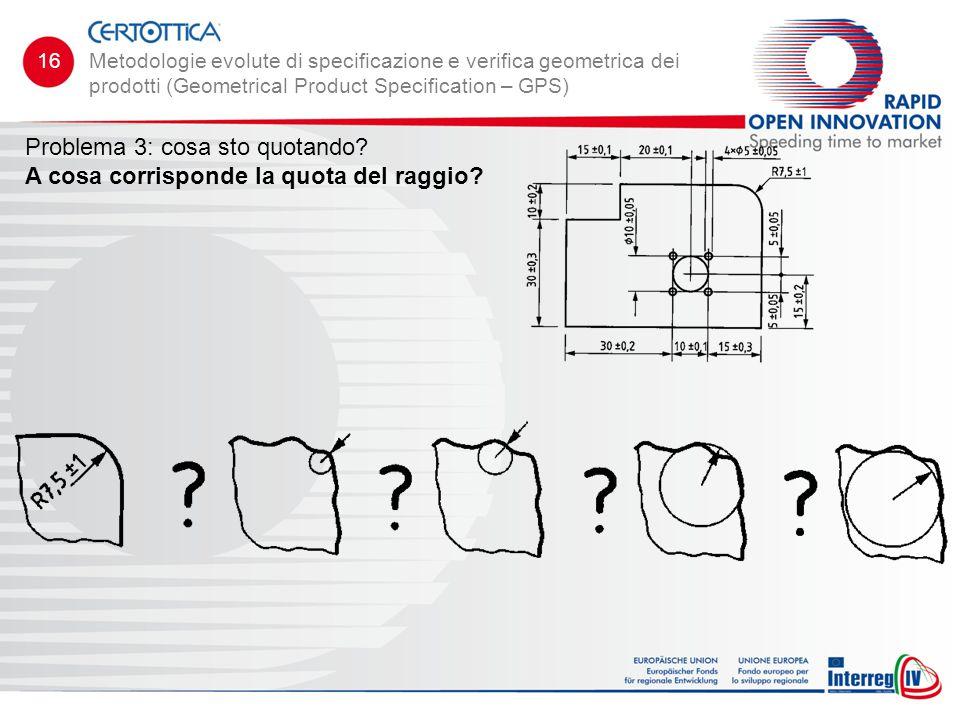 Problema 3: cosa sto quotando? A cosa corrisponde la quota del raggio? Metodologie evolute di specificazione e verifica geometrica dei prodotti (Geome