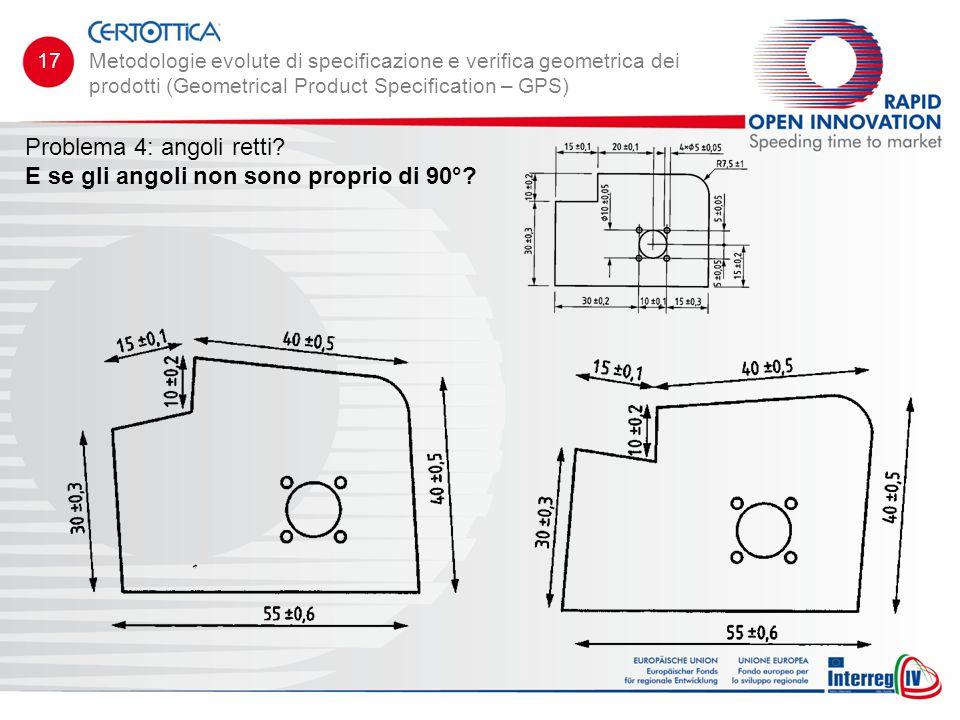 Problema 4: angoli retti? E se gli angoli non sono proprio di 90°? Metodologie evolute di specificazione e verifica geometrica dei prodotti (Geometric