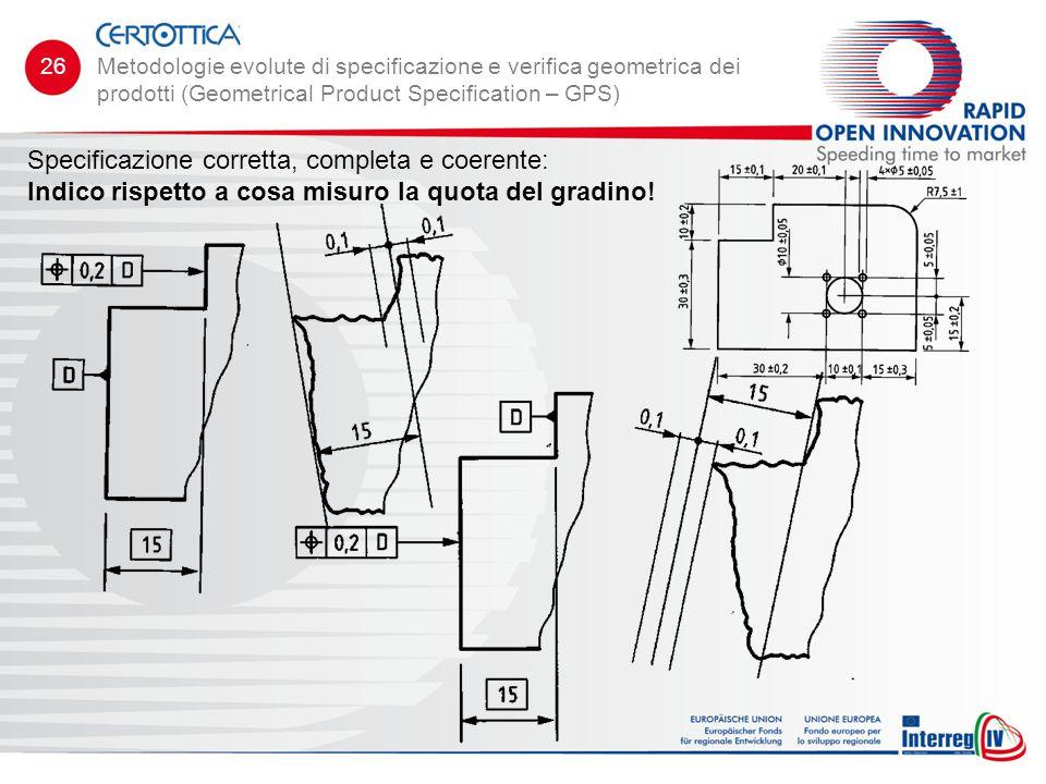 Specificazione corretta, completa e coerente: Indico rispetto a cosa misuro la quota del gradino! Metodologie evolute di specificazione e verifica geo
