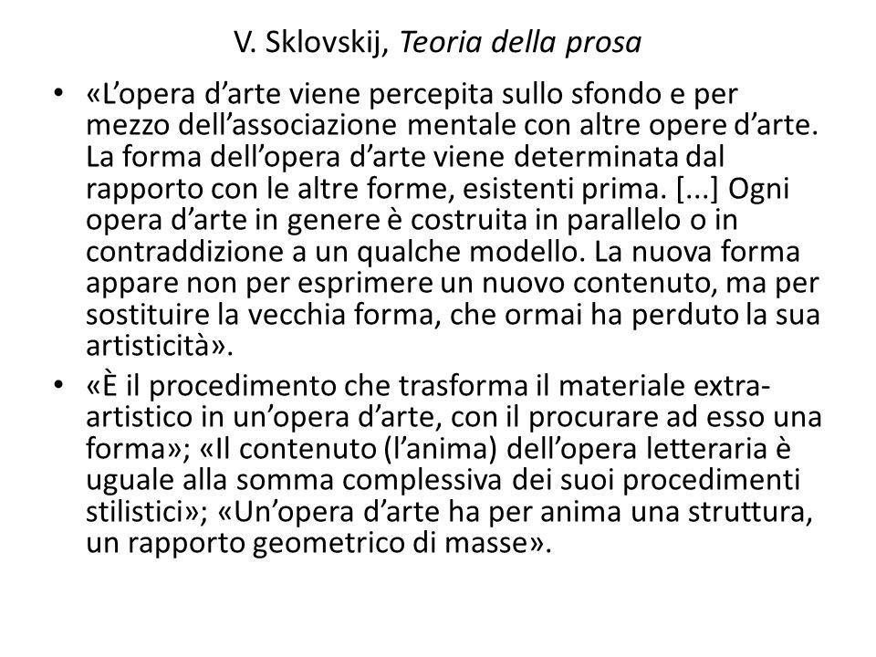 V. Sklovskij, Teoria della prosa «L'opera d'arte viene percepita sullo sfondo e per mezzo dell'associazione mentale con altre opere d'arte. La forma d