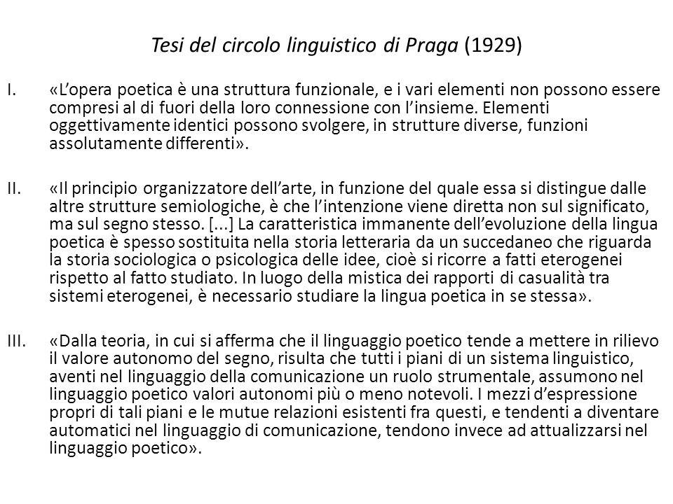 Tesi del circolo linguistico di Praga (1929) I.«L'opera poetica è una struttura funzionale, e i vari elementi non possono essere compresi al di fuori