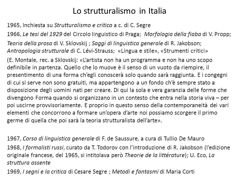 Lo strutturalismo in Italia 1965, Inchiesta su Strutturalismo e critica a c. di C. Segre 1966, Le tesi del 1929 del Circolo linguistico di Praga; Morf