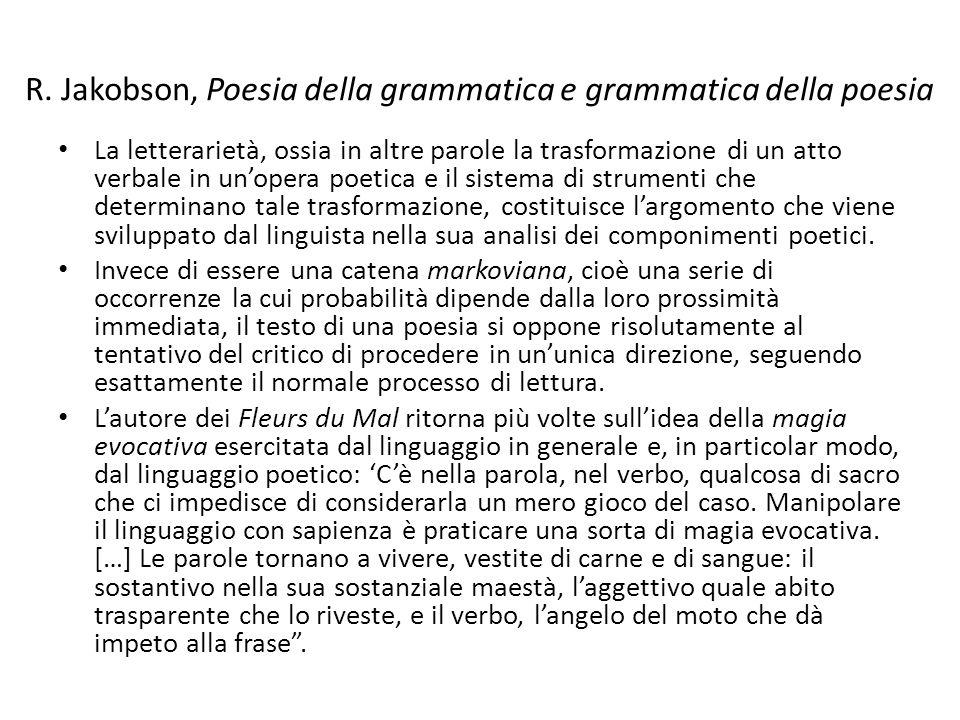 R. Jakobson, Poesia della grammatica e grammatica della poesia La letterarietà, ossia in altre parole la trasformazione di un atto verbale in un'opera