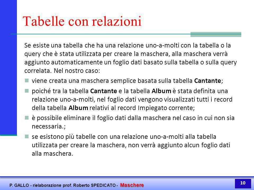 Maschere P. GALLO - rielaborazione prof. Roberto SPEDICATO - Maschere Tabelle con relazioni Se esiste una tabella che ha una relazione uno-a-molti con
