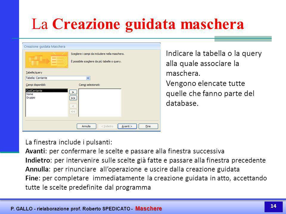 Maschere P. GALLO - rielaborazione prof. Roberto SPEDICATO - Maschere La Creazione guidata maschera La finestra include i pulsanti: Avanti: per confer