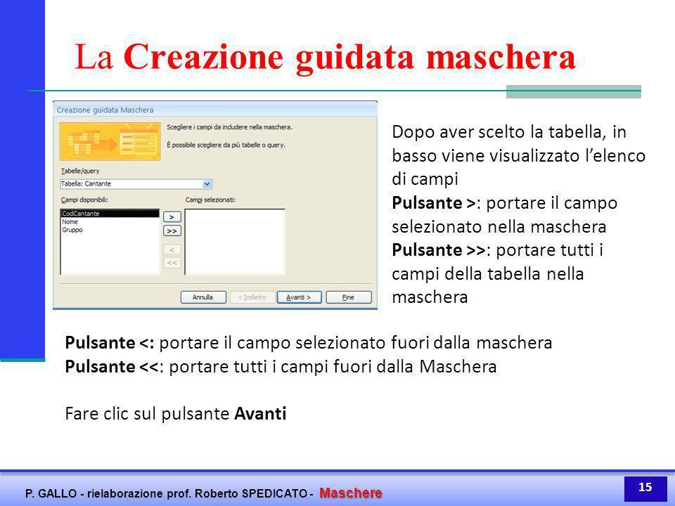 Maschere P. GALLO - rielaborazione prof. Roberto SPEDICATO - Maschere La Creazione guidata maschera Dopo aver scelto la tabella, in basso viene visual