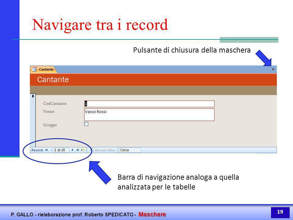 Maschere P. GALLO - rielaborazione prof. Roberto SPEDICATO - Maschere Navigare tra i record Barra di navigazione analoga a quella analizzata per le ta