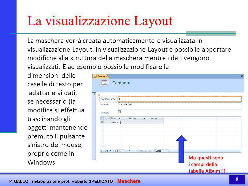 Maschere P. GALLO - rielaborazione prof. Roberto SPEDICATO - Maschere La visualizzazione Layout La maschera verrà creata automaticamente e visualizzat