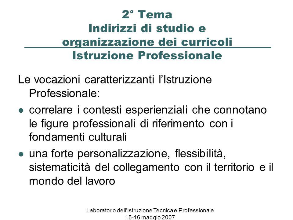 Laboratorio dell'Istruzione Tecnica e Professionale 15-16 maggio 2007 2° Tema Indirizzi di studio e organizzazione dei curricoli Istruzione Profession
