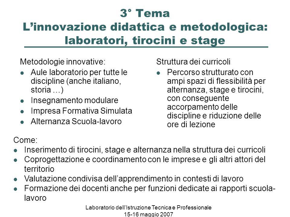 Laboratorio dell'Istruzione Tecnica e Professionale 15-16 maggio 2007 3° Tema L'innovazione didattica e metodologica: laboratori, tirocini e stage Met