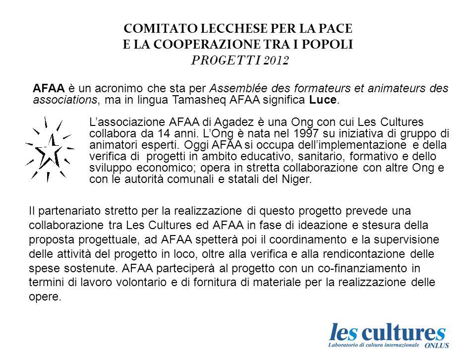 Il partenariato stretto per la realizzazione di questo progetto prevede una collaborazione tra Les Cultures ed AFAA in fase di ideazione e stesura della proposta progettuale, ad AFAA spetterà poi il coordinamento e la supervisione delle attività del progetto in loco, oltre alla verifica e alla rendicontazione delle spese sostenute.