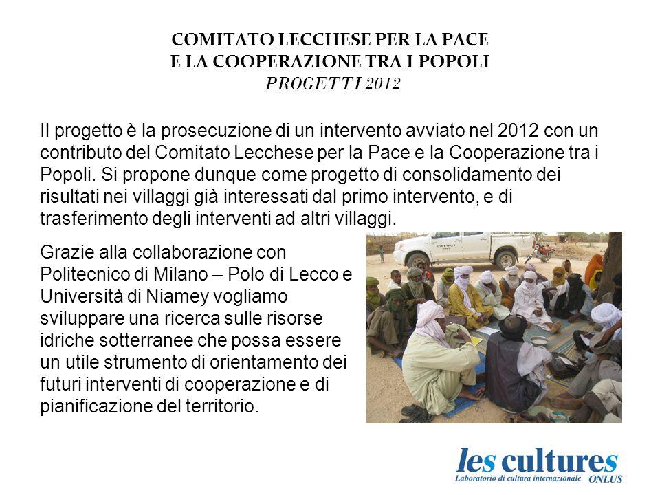COMITATO LECCHESE PER LA PACE E LA COOPERAZIONE TRA I POPOLI PROGETTI 2012 Il progetto è la prosecuzione di un intervento avviato nel 2012 con un contributo del Comitato Lecchese per la Pace e la Cooperazione tra i Popoli.
