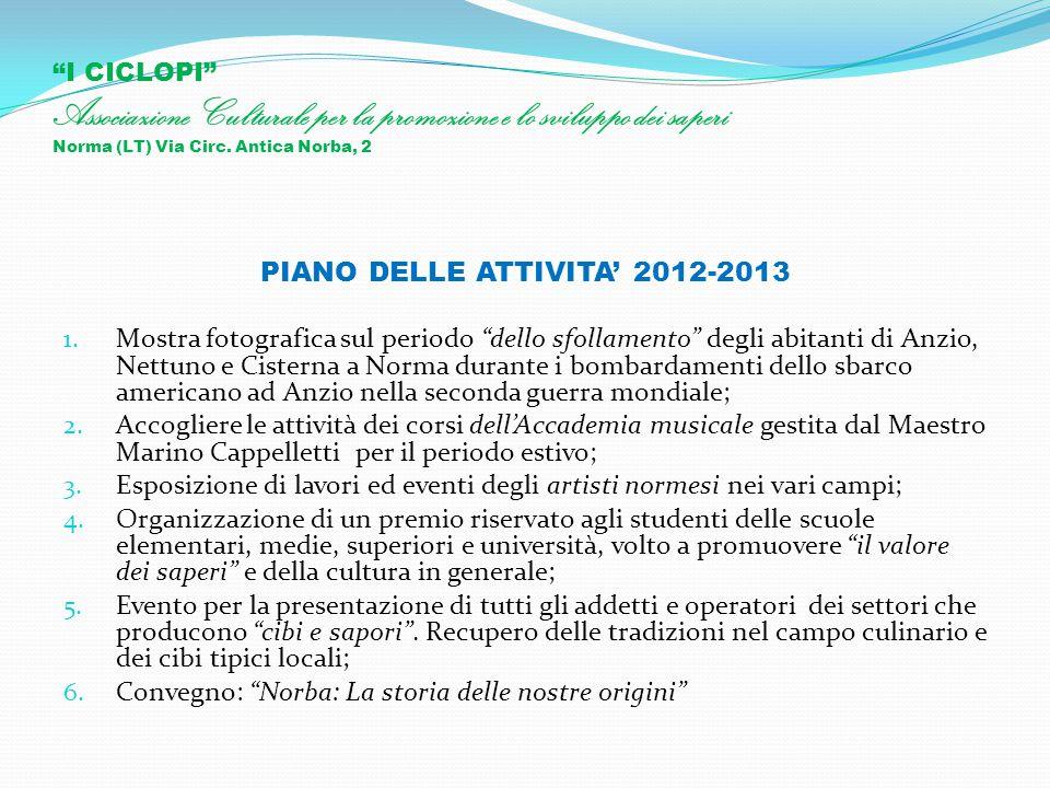 """""""I CICLOPI"""" Associazione Culturale per la promozione e lo sviluppo dei saperi Norma (LT) Via Circ. Antica Norba, 2 PIANO DELLE ATTIVITA' 2012-2013 1."""