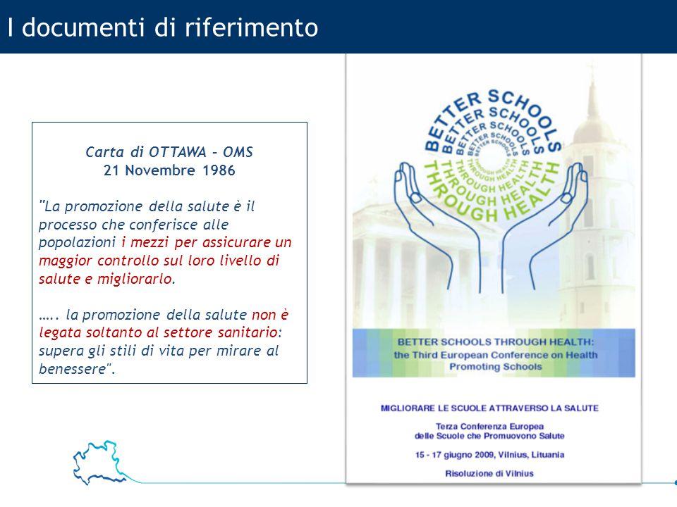 11 USR Lombardia I documenti di riferimento Carta di OTTAWA – OMS 21 Novembre 1986