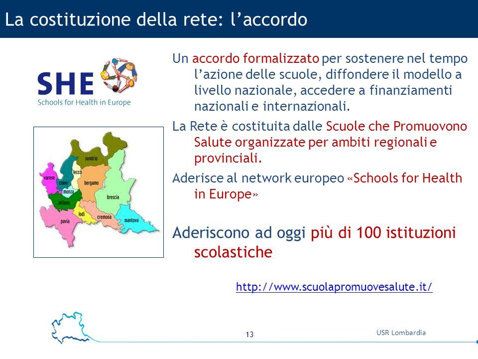 13 USR Lombardia Un accordo formalizzato per sostenere nel tempo l'azione delle scuole, diffondere il modello a livello nazionale, accedere a finanzia