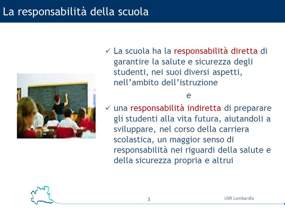 3 USR Lombardia La scuola ha la responsabilità diretta di garantire la salute e sicurezza degli studenti, nei suoi diversi aspetti, nell'ambito dell'i