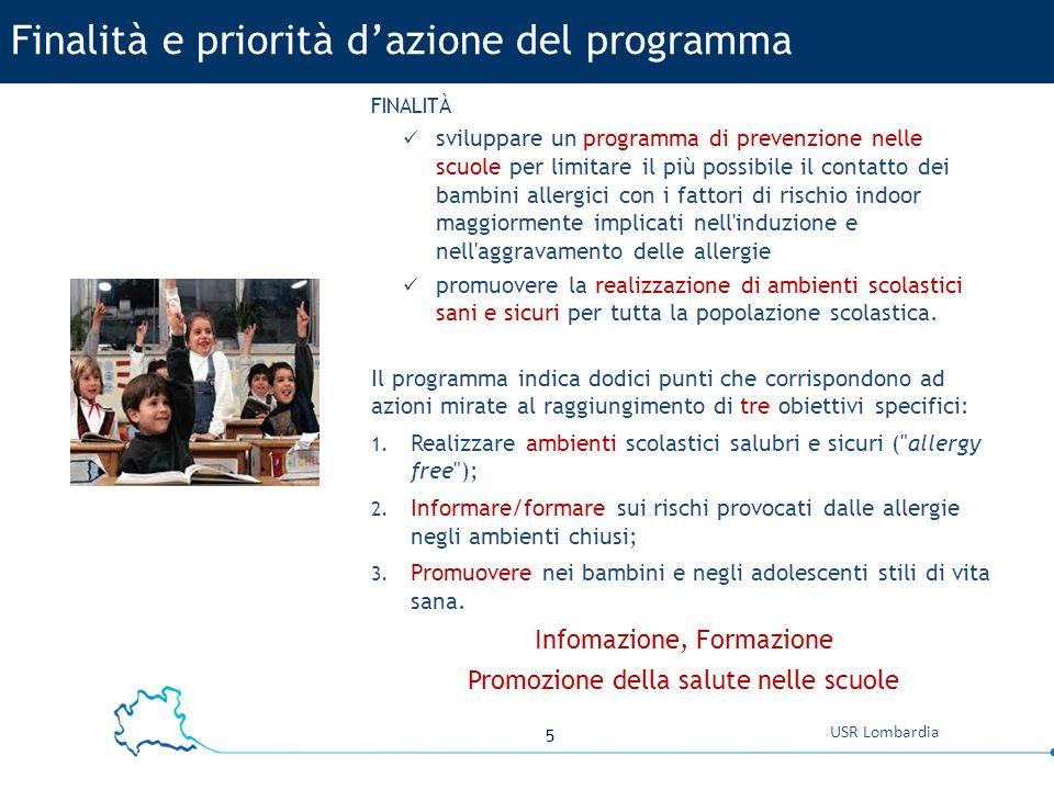 5 USR Lombardia FINALITÀ sviluppare un programma di prevenzione nelle scuole per limitare il più possibile il contatto dei bambini allergici con i fat