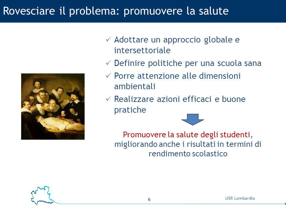 6 USR Lombardia Adottare un approccio globale e intersettoriale Definire politiche per una scuola sana Porre attenzione alle dimensioni ambientali Rea