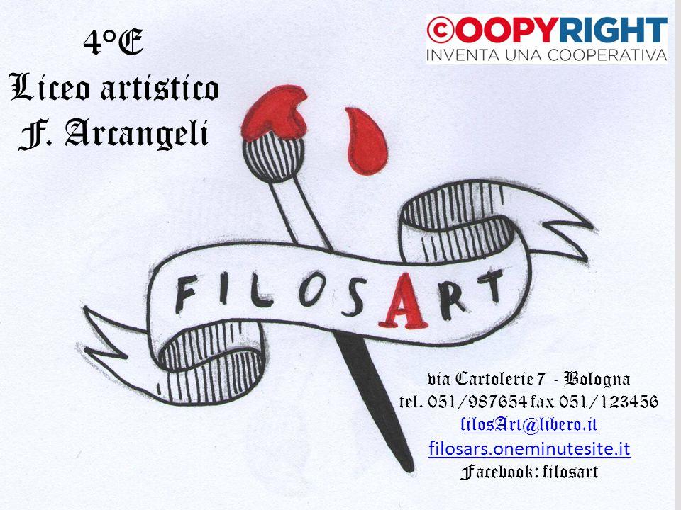 via Cartolerie 7 - Bologna tel. 051/987654 fax 051/123456 filosArt@libero.it filosars.oneminutesite.it Facebook: filosart 4°E Liceo artistico F. Arcan