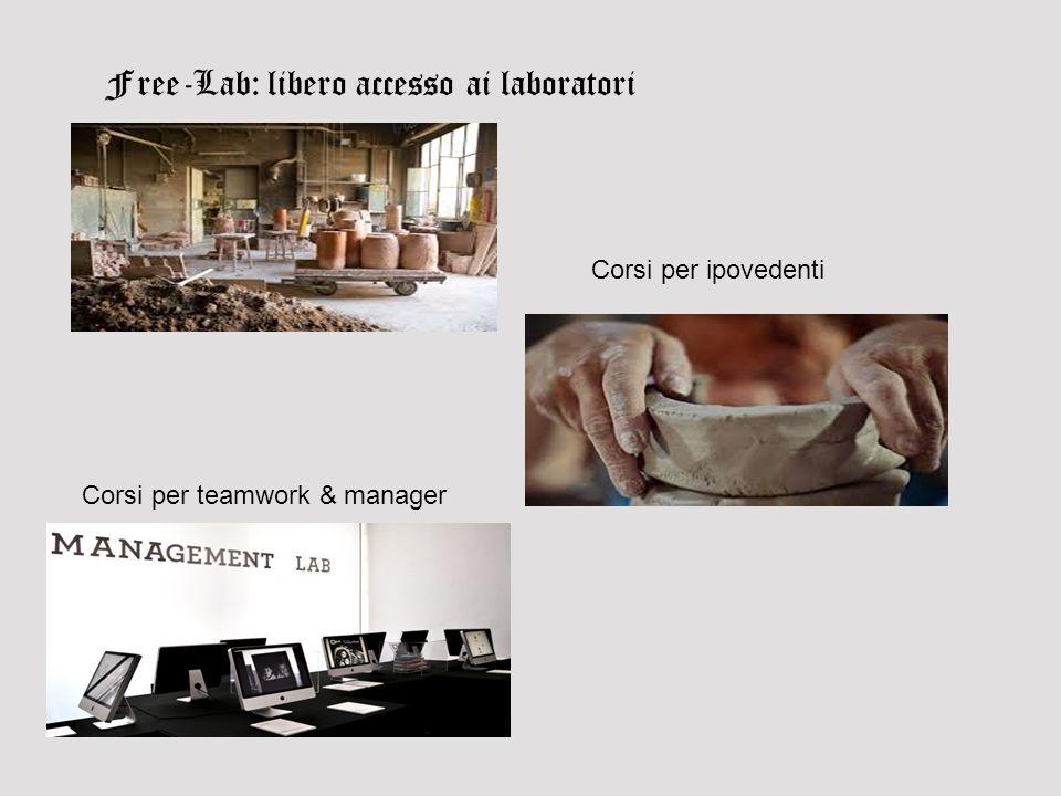 Free-Lab: libero accesso ai laboratori Corsi per ipovedenti Corsi per teamwork & manager