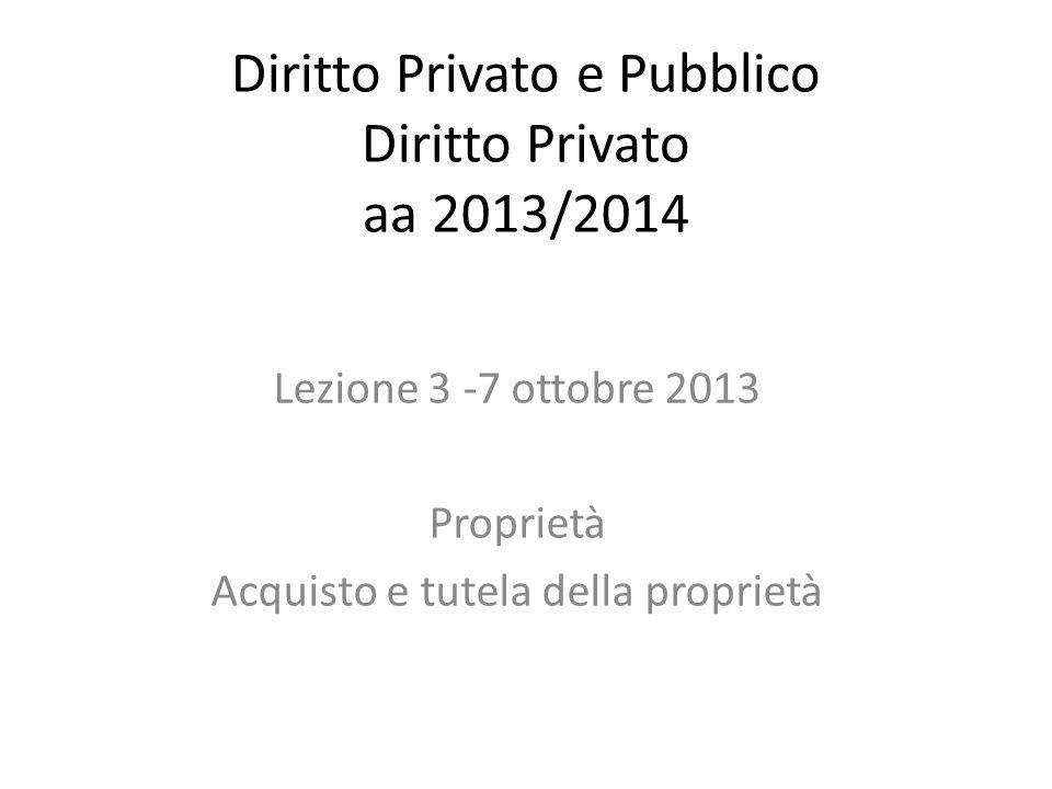 Diritto Privato e Pubblico Diritto Privato aa 2013/2014 Lezione 3 -7 ottobre 2013 Proprietà Acquisto e tutela della proprietà