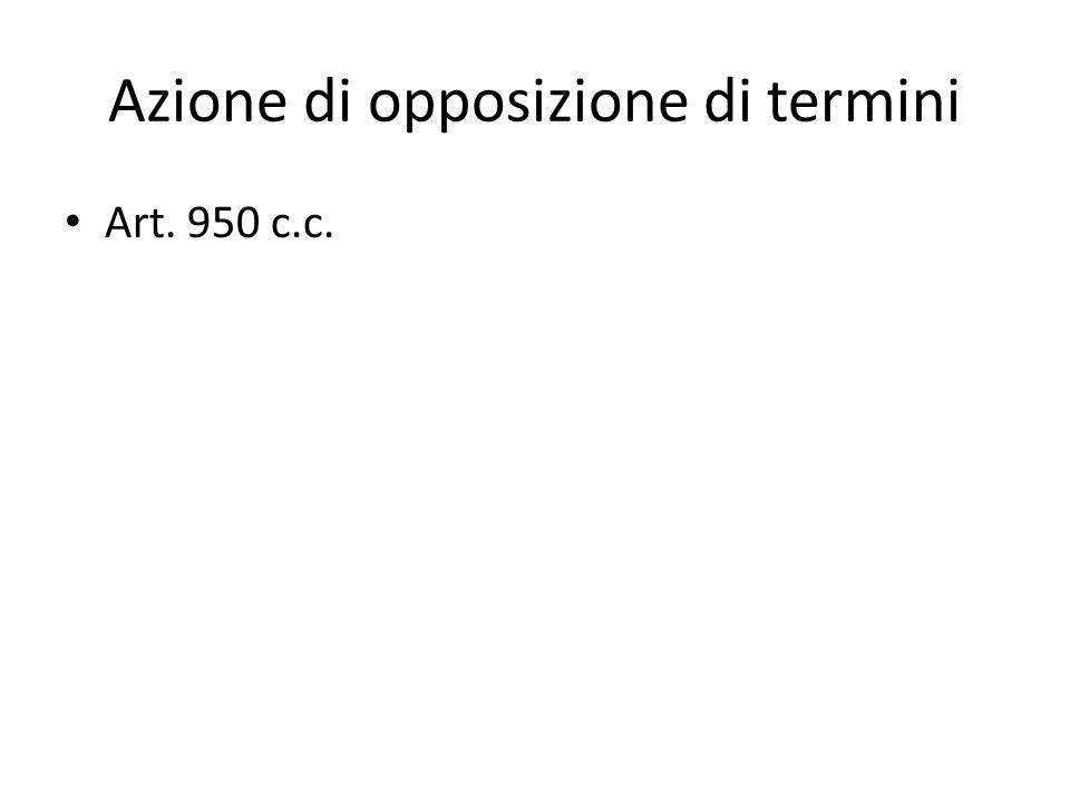 Azione di opposizione di termini Art. 950 c.c.