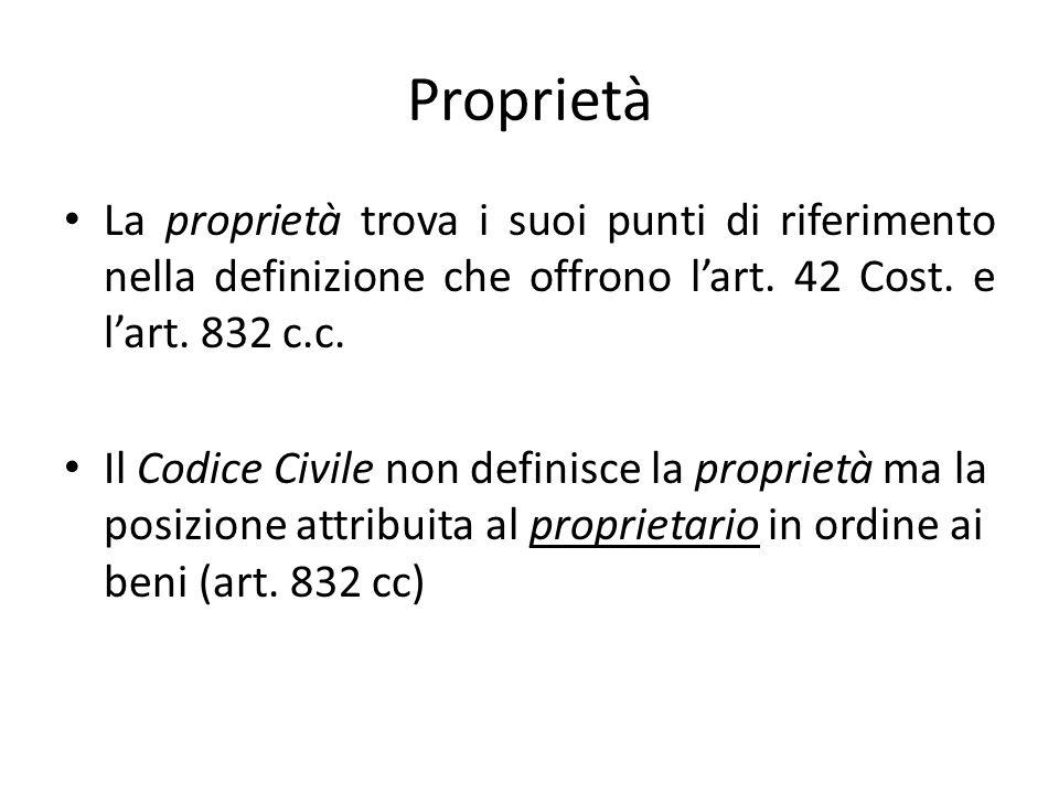 Proprietà La proprietà trova i suoi punti di riferimento nella definizione che offrono l'art.