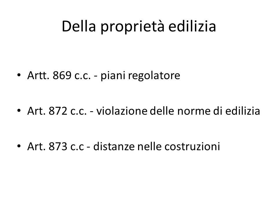 Della proprietà edilizia Artt.869 c.c. - piani regolatore Art.