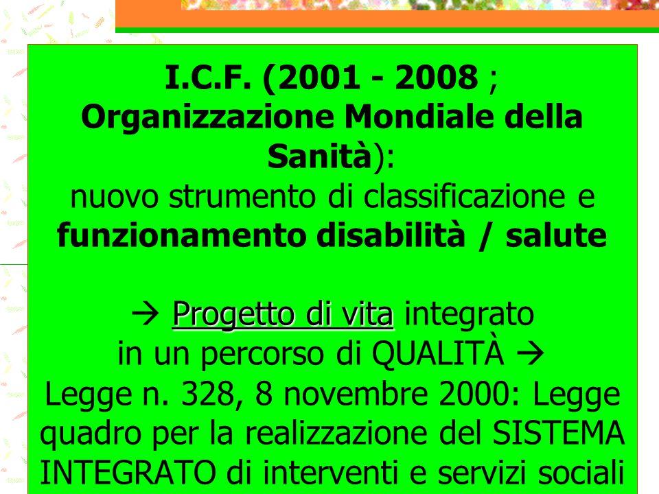 Progetto di vita I.C.F. (2001 - 2008 ; Organizzazione Mondiale della Sanità): nuovo strumento di classificazione e funzionamento disabilità / salute 