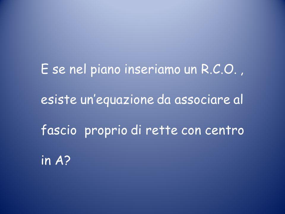E se nel piano inseriamo un R.C.O., esiste un'equazione da associare al fascio proprio di rette con centro in A?