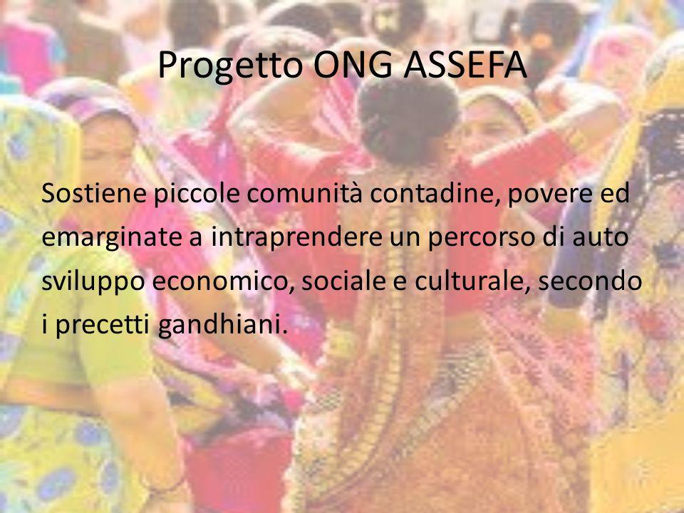 Progetto ONG ASSEFA Sostiene piccole comunità contadine, povere ed emarginate a intraprendere un percorso di auto sviluppo economico, sociale e culturale, secondo i precetti gandhiani.