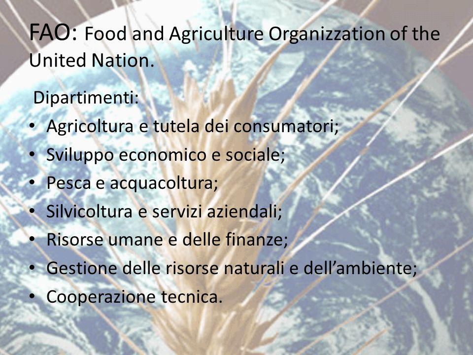 FAO: Food and Agriculture Organizzation of the United Nation. Dipartimenti: Agricoltura e tutela dei consumatori; Sviluppo economico e sociale; Pesca