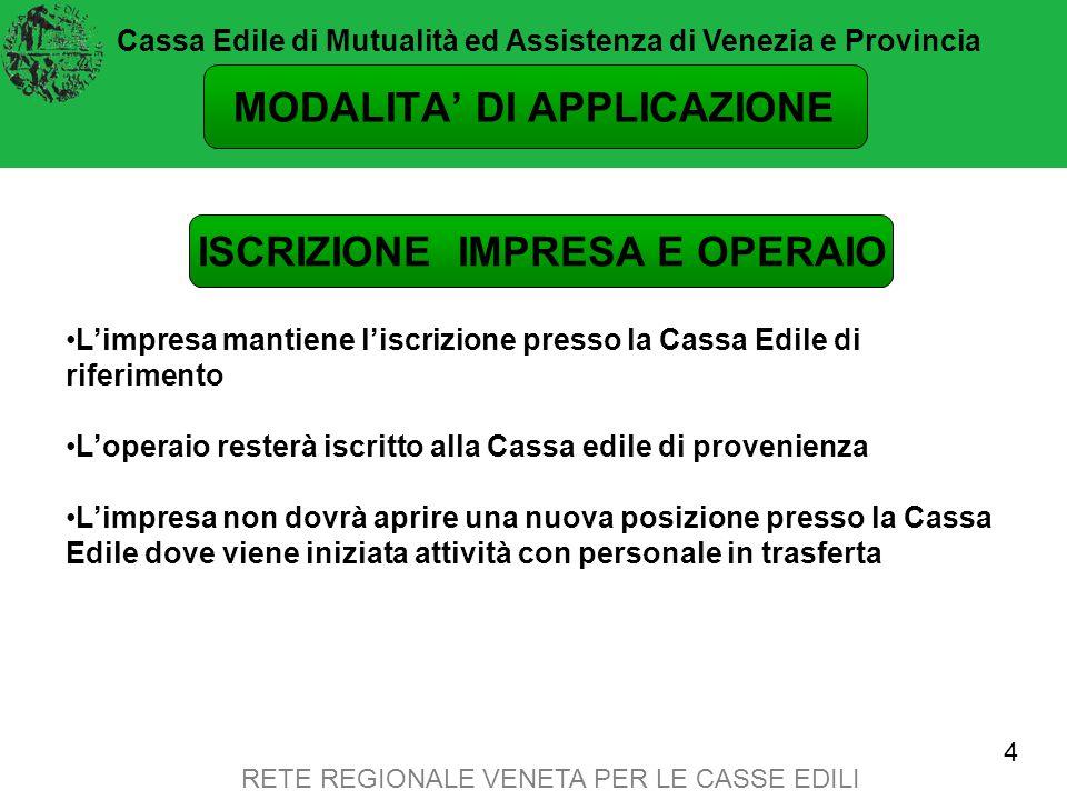 RETE REGIONALE VENETA PER LE CASSE EDILI ADEMPIMENTI PER LE IMPRESE MUT versione 2.0 (DENUNCIA PER CANTIERE).