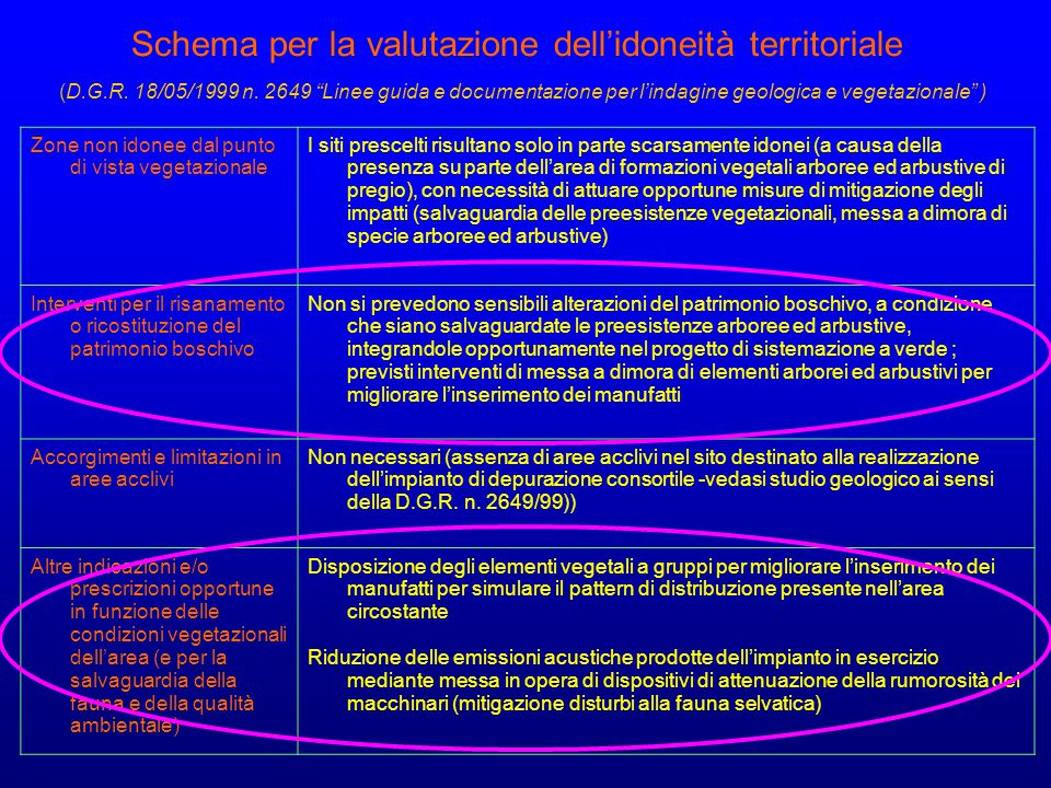 "Schema per la valutazione dell'idoneità territoriale (D.G.R. 18/05/1999 n. 2649 ""Linee guida e documentazione per l'indagine geologica e vegetazionale"