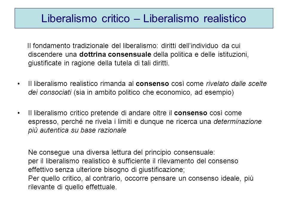 Liberalismo critico – Liberalismo realistico Il fondamento tradizionale del liberalismo: diritti dell'individuo da cui discendere una dottrina consensuale della politica e delle istituzioni, giustificate in ragione della tutela di tali diritti.
