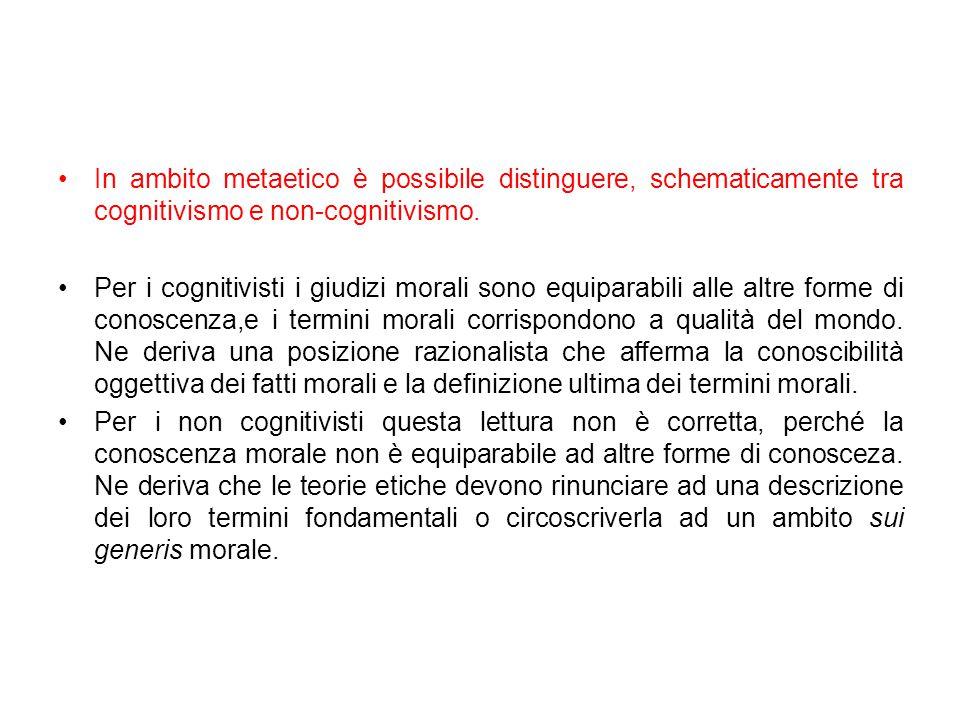 In ambito metaetico è possibile distinguere, schematicamente tra cognitivismo e non-cognitivismo.