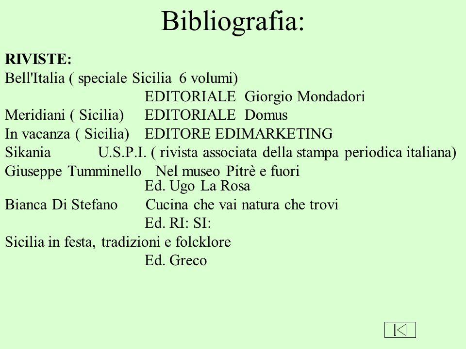 Bibliografia: RIVISTE: Bell'Italia ( speciale Sicilia 6 volumi) EDITORIALE Giorgio Mondadori Meridiani ( Sicilia) EDITORIALE Domus In vacanza ( Sicili