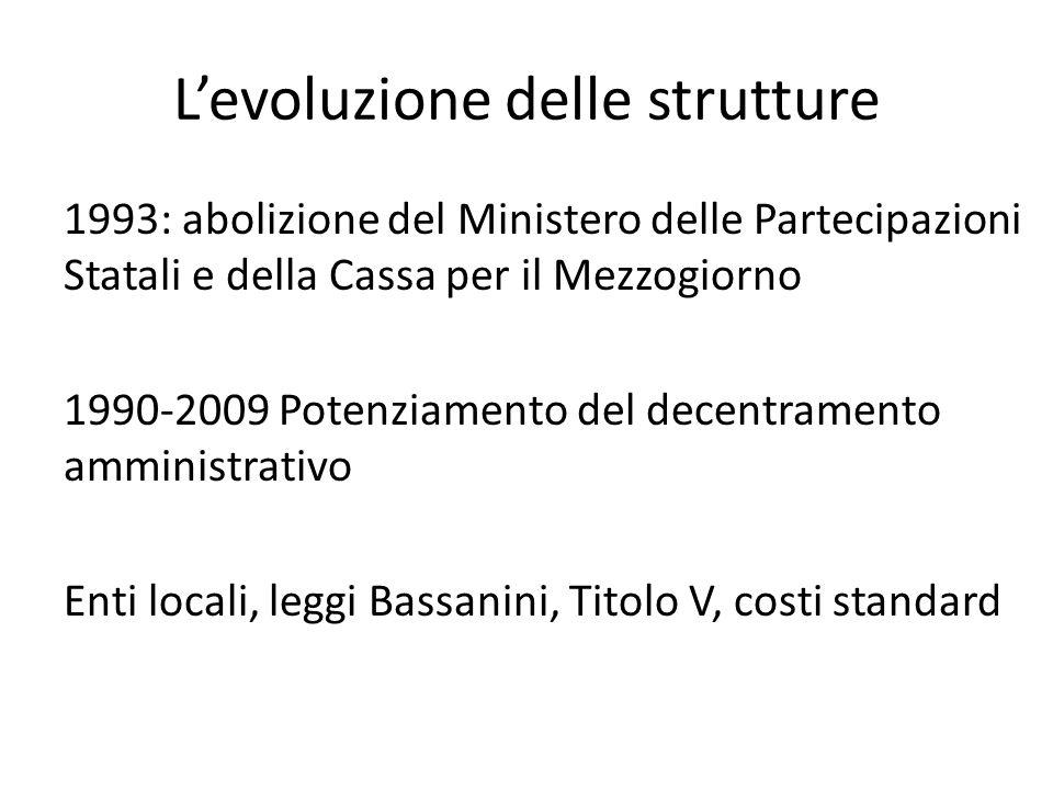 L'evoluzione delle strutture 1993: abolizione del Ministero delle Partecipazioni Statali e della Cassa per il Mezzogiorno 1990-2009 Potenziamento del