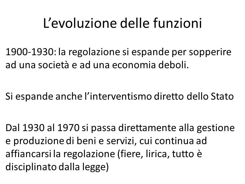 L'evoluzione delle funzioni 1900-1930: la regolazione si espande per sopperire ad una società e ad una economia deboli. Si espande anche l'interventis