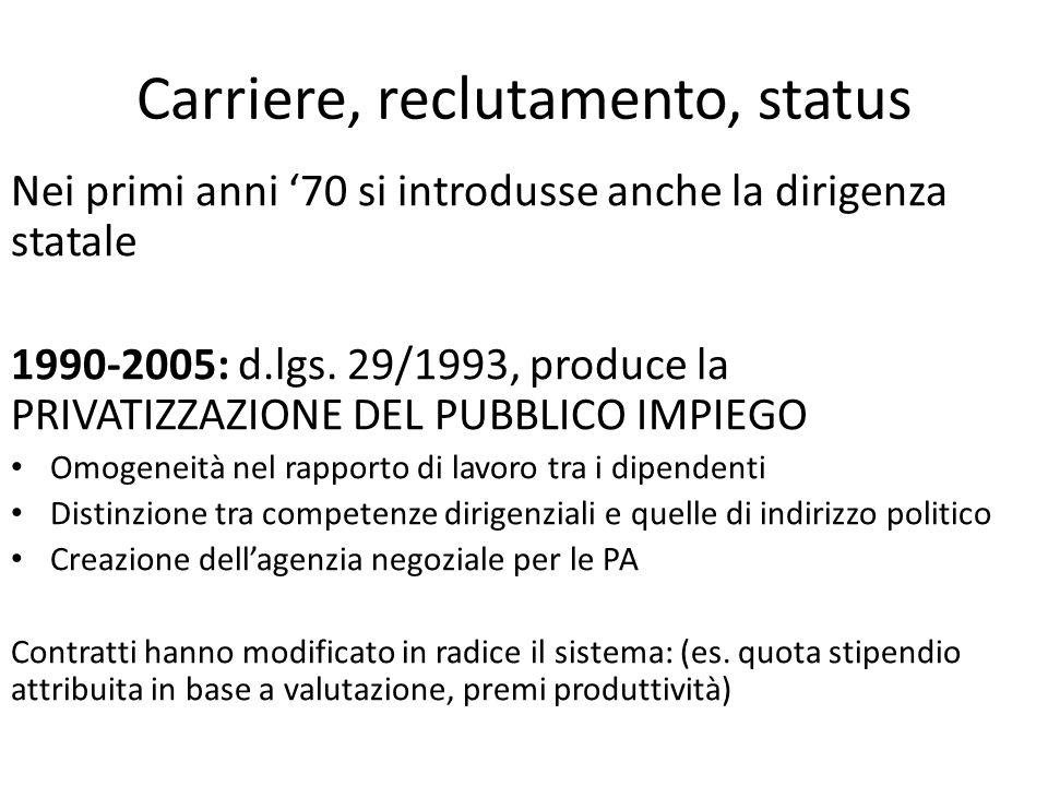 Carriere, reclutamento, status Nei primi anni '70 si introdusse anche la dirigenza statale 1990-2005: d.lgs. 29/1993, produce la PRIVATIZZAZIONE DEL P