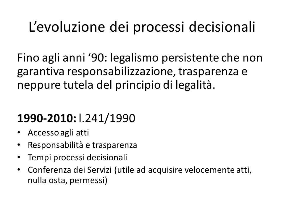 L'evoluzione dei processi decisionali Fino agli anni '90: legalismo persistente che non garantiva responsabilizzazione, trasparenza e neppure tutela d