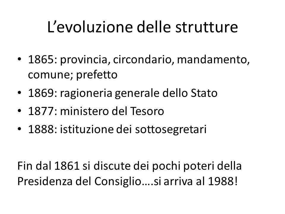 L'evoluzione delle strutture 1865: provincia, circondario, mandamento, comune; prefetto 1869: ragioneria generale dello Stato 1877: ministero del Teso