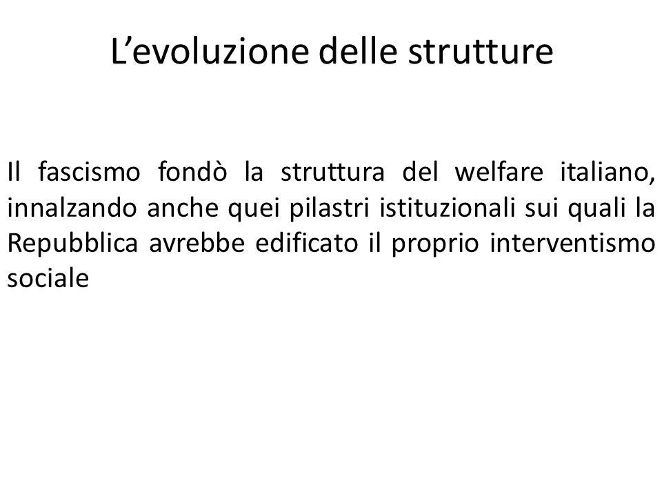 L'evoluzione delle strutture Il fascismo fondò la struttura del welfare italiano, innalzando anche quei pilastri istituzionali sui quali la Repubblica