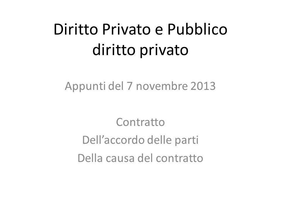 Diritto Privato e Pubblico diritto privato Appunti del 7 novembre 2013 Contratto Dell'accordo delle parti Della causa del contratto