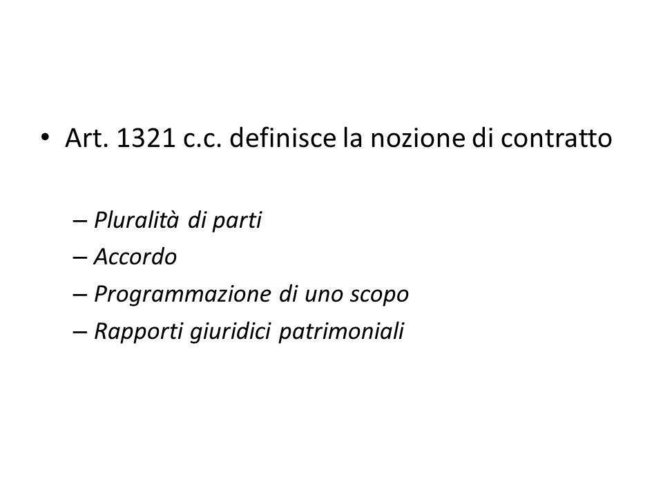 Art. 1321 c.c. definisce la nozione di contratto – Pluralità di parti – Accordo – Programmazione di uno scopo – Rapporti giuridici patrimoniali
